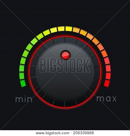 Black knob button. Min and max level. Vector 3d illustration