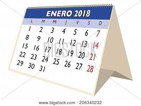 January 2018 Desk Calendar In Spanish Enero 2018