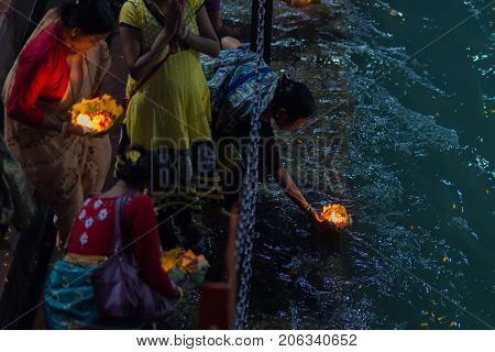 Haridwar, India - March 20, 2017:  Holy Ghats At Haridwar, India, Sacred Town For Hindu Religion. Pi