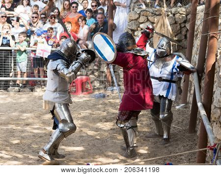 Jerusalem Israel September 23 2017 : A duel between groups of knights - a bouhourt at the festival