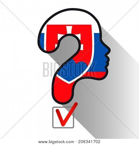 Elections in Slovenia. Profile and question mark made from the flag. The sign of voting and the check of boxing.