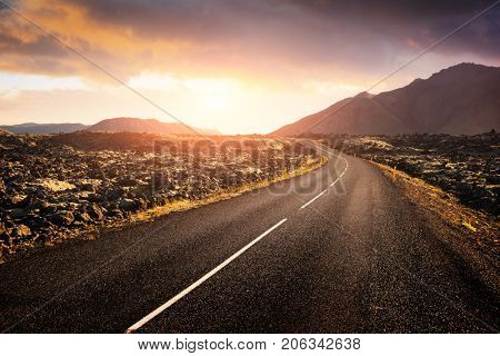 Typical Iceland landscape with road