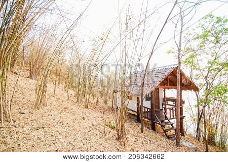 Old hut in the mountains and dry forest