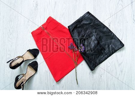Red And Black Skirt, Black Shoes. Fashionable Concept