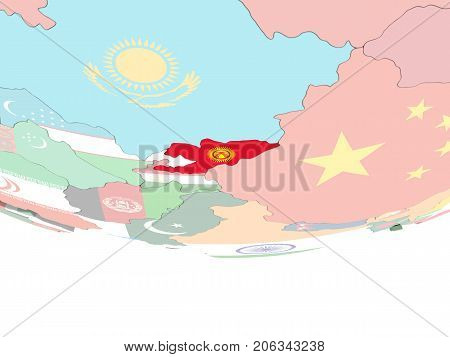 Map Of Kyrgyzstan With Flag On Globe