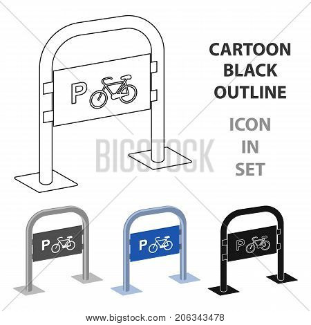 Bicycle parking icon in cartoon design isolated on white background. Parking zone symbol stock vector illustration.