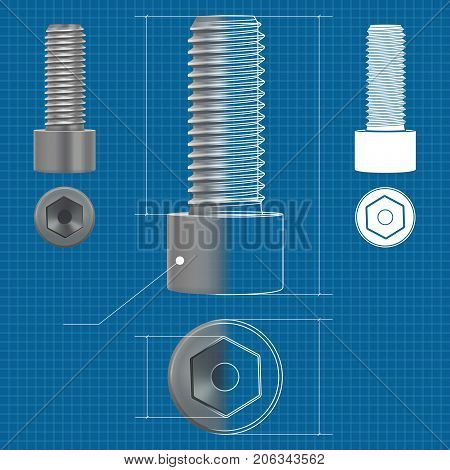 Cap hex socket bolt vector 3d vector photo bigstock cap hex socket bolt vector 3d illustration and flat white icon on blueprint background malvernweather Images
