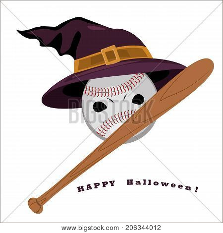 Vector flat illustration with baseball and bat halloween. Crazy party. Witch hat. Holiday card with witch hat baseball and bat.