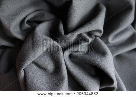 Draped Simple Unprinted Dark Grey Viscose Fabric