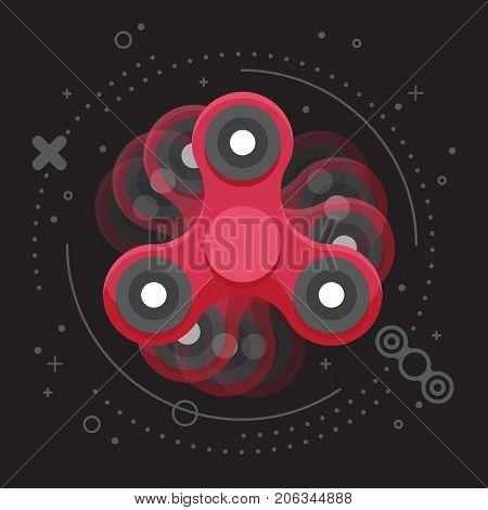 Moving red hand spinner leaflet, banner, poster. Toy for increased focus in motion, stress relief. Fidget relax and meditation. Flat icon. Gadget plaything. Vector illustration art.
