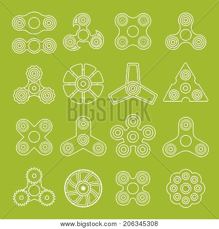 Hand outline spinners set. Toys collection for increased focus, stress relief. Fidget relax and meditation. Outline icons. Collection of different spinners. Gadget plaything. Vector illustration art.