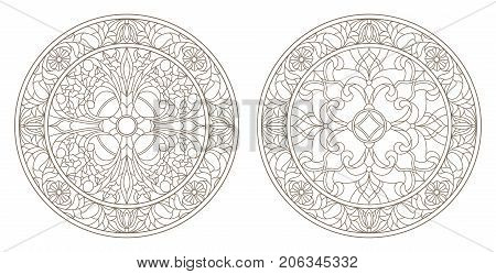 Set contour illustrations of stained glass round stained glass floral dark outline on a white background