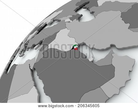 Flag Of Kuwait On Grey Globe