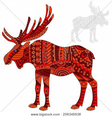 Illustration of abstract red elk moose and painted its outline on white background isolate