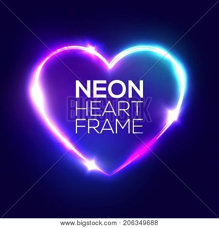 Night Club Neon Heart Sign. 3d Retro Light Signboard With Shining Neon Effect. Techno Frame With Glowing On Dark Blue Backdrop. Electric Street Banner Design. Colorful Vector Illustration in 80s Style