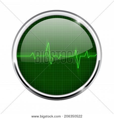 Heart beat sign. Green round icon with metal frame. Vector 3d illustration isolated on white background