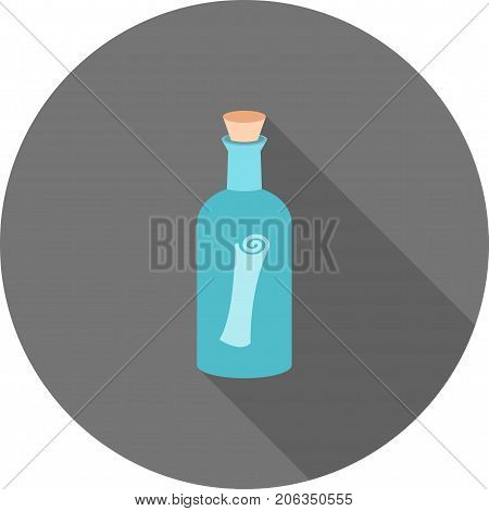 Bottle, scroll, cork icon vector image. Can also be used for Pirate. Suitable for use on web apps, mobile apps and print media.