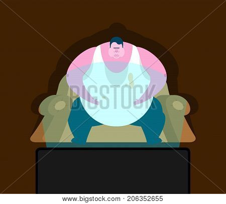 Fat Guy Is Sitting On Chair And Tv. Glutton Thick Man And Televisor. Fatso Vector Illustration