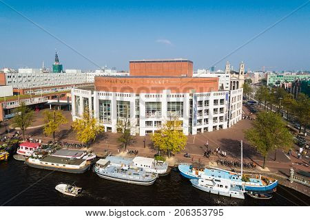 Amsterdam Netherlands - September 23 2017: Aerial view of the Dutch National Opera and Ballet located on Amstel street