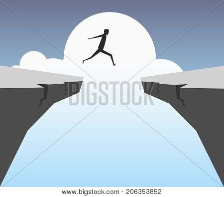 Businessman jumping over chasm. Business success,risk vector