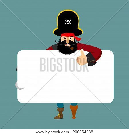 Pirate Holding Banner Blank. Filibuster And White Blank. Corsair Joyful Emotion. Buccaneer And Place