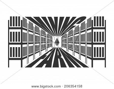 Mining farm. Extraction of Cryptocurrency. Stand gpu. Technology for obtaining bitcoin and etherium. data center. Vector illustration
