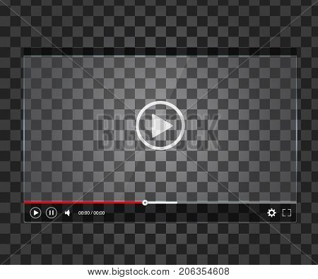 Transparent video player. Mock up of glossy video player