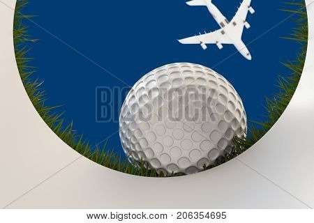 3d illustration of a golf ball that approaching hole
