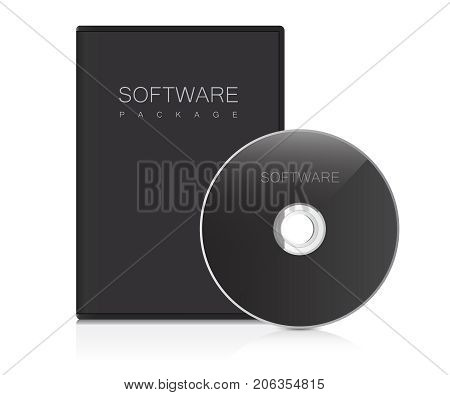 Software package. Realistic Case for DVD Or CD Disk