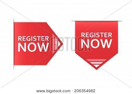 Register now badge. Register now label vector