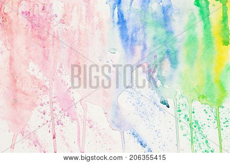 Rainbow colored spot, abstract watercolor stain on white paper. Layout for design. Hand draw illustration, texture in Delicate shades of spring colors