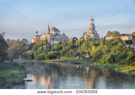 Boris and Gleb Monastery and Tvertsa river in the morning in Torzhok Tver oblast Russia