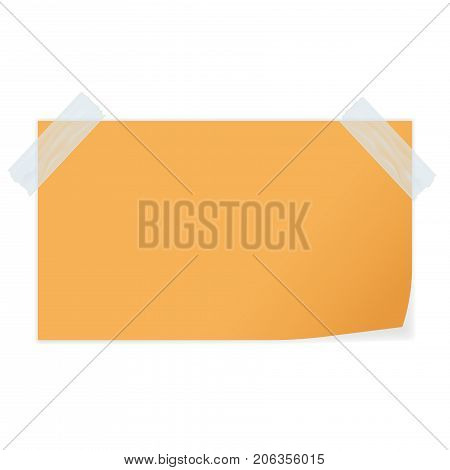 Yellow paper fastened with adhesive tape. Vector illustration isolated on white background