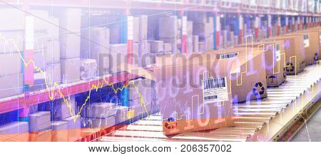 Row of cardboard boxes on conveyor belt against stocks and shares