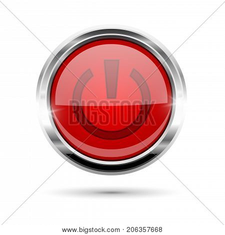 Red glass power button with chrome frame. Vector 3d illustration isolated on white background