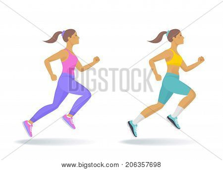 The running woman set. Side view of active sporty running young women in a sportswear. Sport, jogging, fitness, workout, active people, concept. Flat vector illustration isolated on white background.