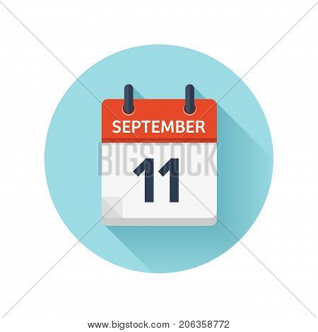 September 11. Vector flat daily calendar icon. Date and time, day, month 2018. Holiday. Season.