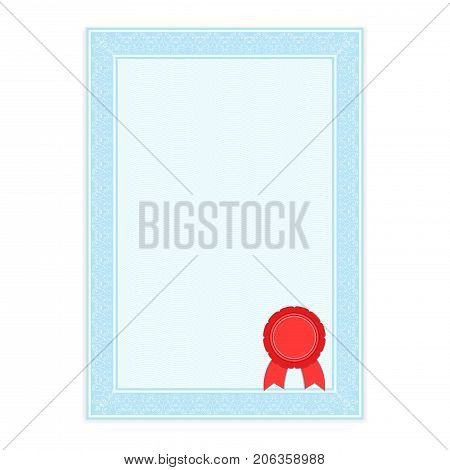 Blue paper with ornamental frame and sealing wax. Vector 3d illustration isolated on white background