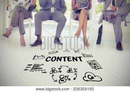 Content text amidst several vector icons against business people sitting on chairs