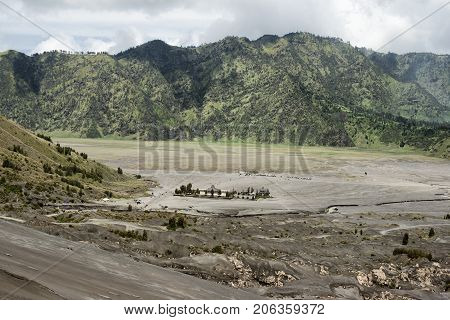 Panoramic view from Mount Bromo Tengger Semeru National Park East Java Indonesia.