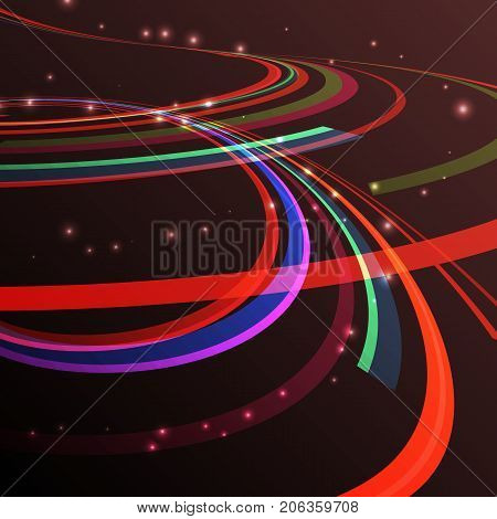 Abstarct curving lines ray of ligh. Vector illustration