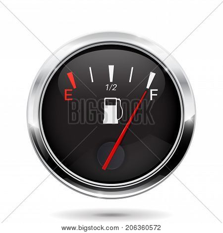 Fuel gauge. Full tank indication. Vector illustration isolated on white background