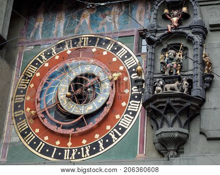 Astronomical clock at Bern town square Bern Switzerland.
