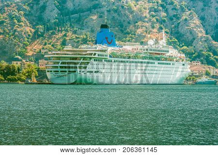 Kotor, Montenegro - August 24, 2017: Cruise liner on the quay in Kotor.