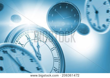 Digitally generated image of wall clocks against white background