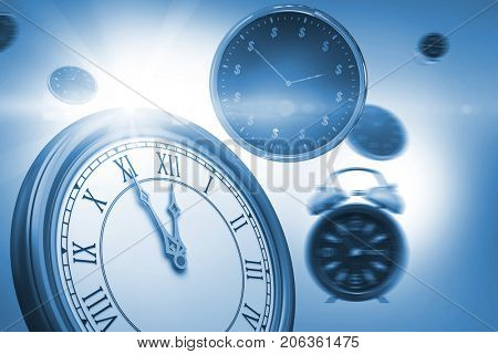 Computer generated image of clocks against white background