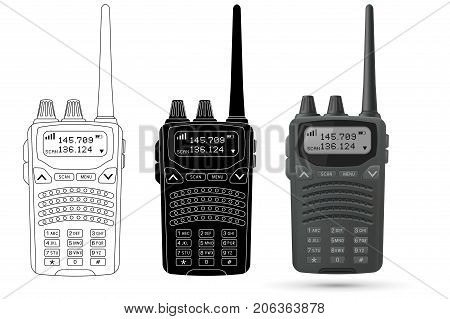 Radio transceiver with antenna and number buttons. Vector 3d illustration, outline and black icons isolated on white background