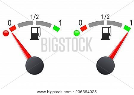 Fuel gauge. Car dashboard signs - empty and full. Vector illustration