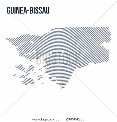 Vector Abstract Hatched Map Of Guinea-bissau With Curve Lines Isolated On A White Background.
