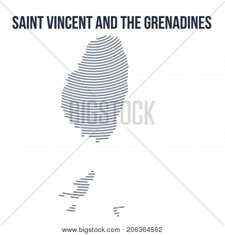Vector Abstract Hatched Map Of Saint Vincent And The Grenadines With Curve Lines Isolated On A White